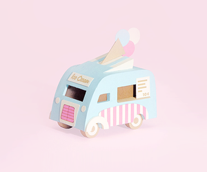 ice cream truck, pastels, and wooden toy truck image