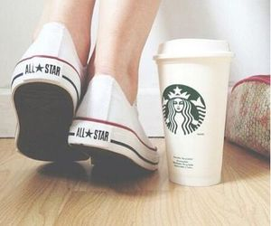 girls, starbucks, and love image