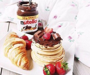 nutella, pancakes, and strawberries image