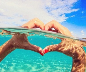 heart, summer, and water image