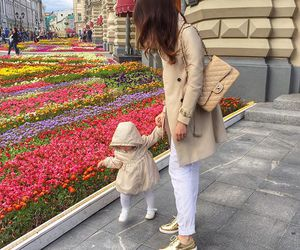 flowers, girl, and mom image