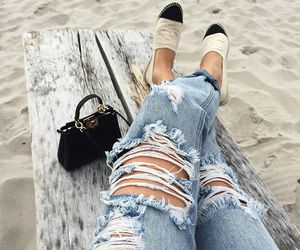beach, chanel, and jeans image