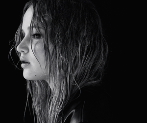 Jennifer Lawrence, black and white, and hunger games image