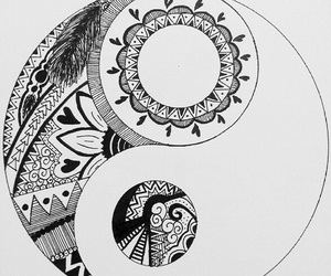 black and white, drawing, and karma image