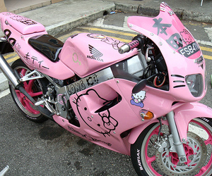 pink, hello kitty, and motorcycle image