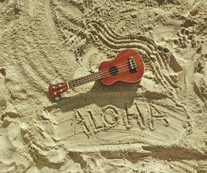 beach, music, and ukelele image