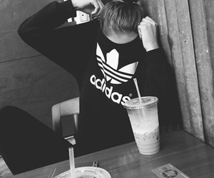 black and white, adidas, and fashion image