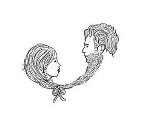 beard, couple, and draw image