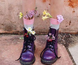 flowers, boots, and purple image