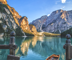 mountains, nature, and boat image