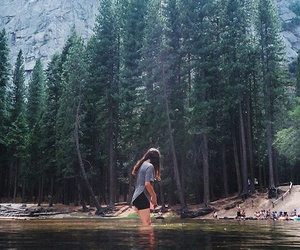 girl, nature, and forest image