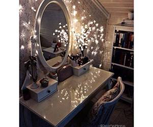 lights, mirrors, and vanity room inspiration image