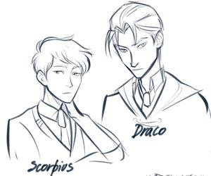 draco malfoy, scorpius malfoy, and harry potter image