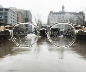 glasses, rain, and city image