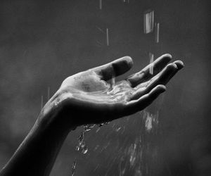 rain, hand, and black and white image