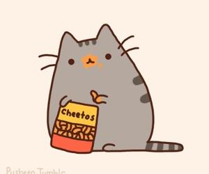 cat, Cheetos, and pusheen image
