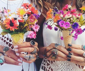 flowers, nails, and summer image