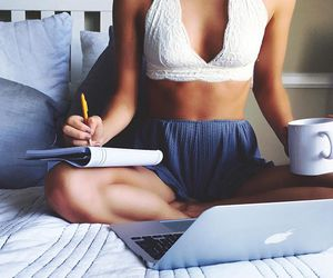 bed, laptop, and style image