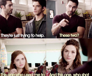 derek, lydia, and teen wolf image