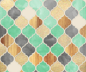 gold, mint, and pattern image