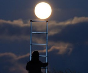 moon, night, and man image