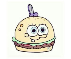 spongebob, burger, and overlay image