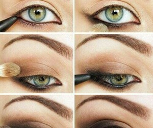 brown, green, and makeup image