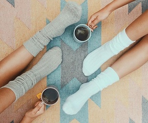 socks, friends, and tea image