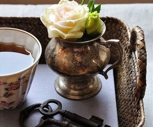 tea and flowers image