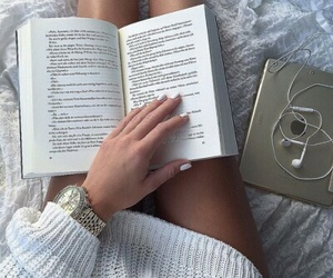 book, girl, and white image