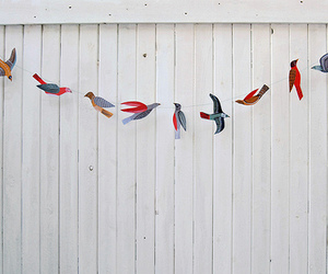 birds, wooden wall, and painting image