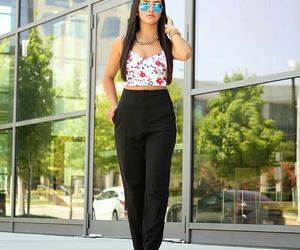 black heels, black sandals, and floral crop top image
