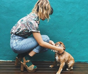 girl, fashion, and dog image