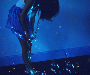girl, light, and blue image