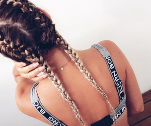 braids, girl, and long hair image