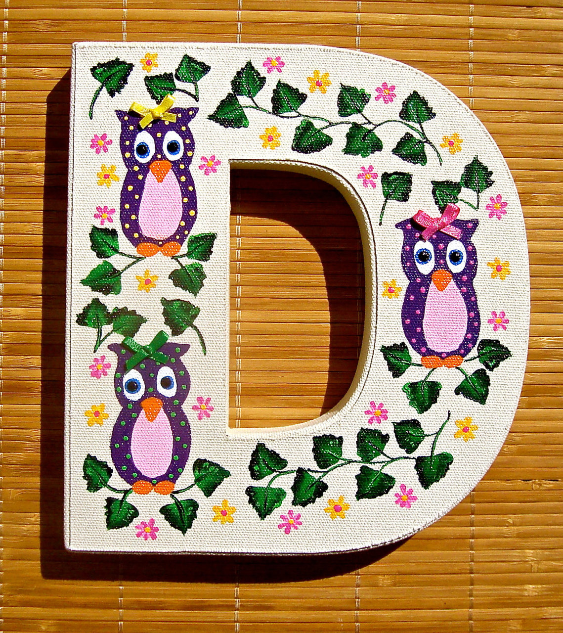 Nursery Decor Painted Letter D With