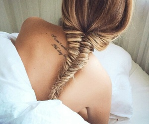 bed, braid, and tattoo image