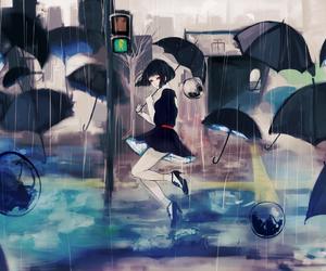anime, anime girl, and umbrella image