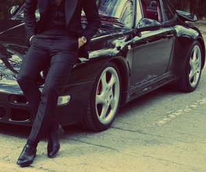 men, black, and car image