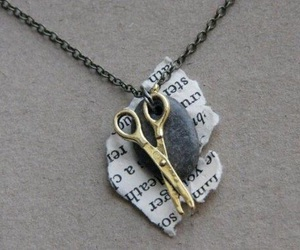 necklace, Paper, and scissors image