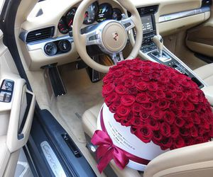 rose, car, and flowers image