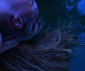 blue, dark, and hair image