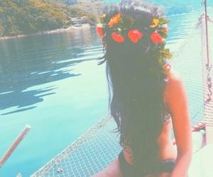 bikini, flowers, and pastel image