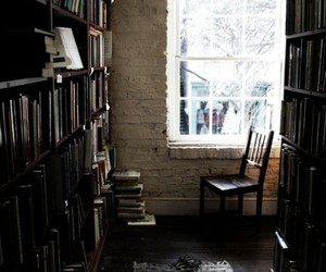 book, library, and window image