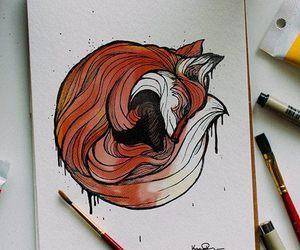 drawing, fox, and animal image