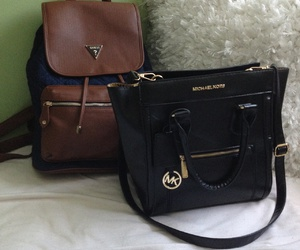 backpack, brown leather bag, and guess image