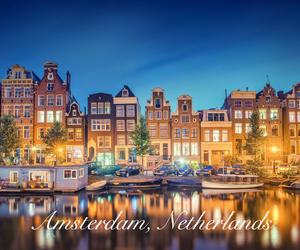 amsterdam, lights, and travel image