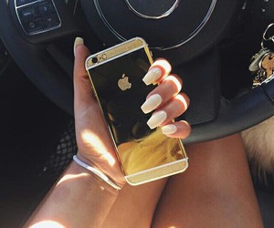 iphone, gold, and nails image
