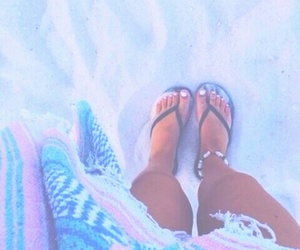 beach, nails, and shoes image