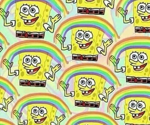 wallpaper, rainbow, and spongebob image